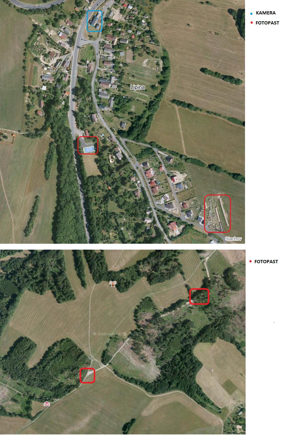 Mapa umístění kamer a fotopastí